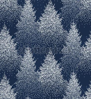 Adesivo Padrão sem emenda de inverno com pinheiros e pinheiros na neve. Floresta de coníferas. Decoração de Natal. Ilustração vetorial