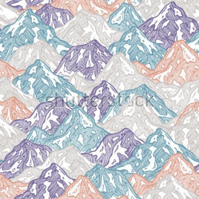 Adesivo Padrão sem emenda de montanhas. Ilustração do garoto as montanhas do divertimento. Ilustração vetorial