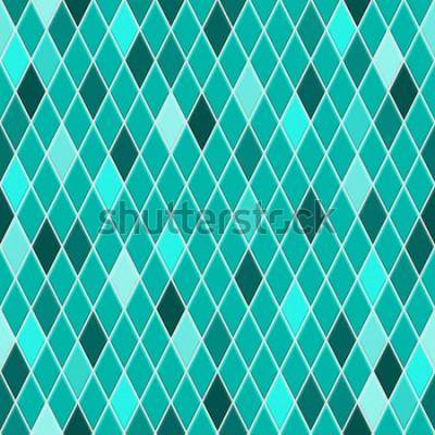 Adesivo Padrão sem emenda de pequenos losangos nas cores turquesas com alguns losangos coloridos