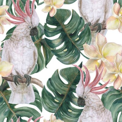Adesivo Padrão sem emenda de pintura em aquarela com tropical deliciosa folhas, flores de plumeria e cacatua