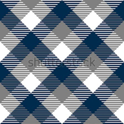 Adesivo Padrão sem emenda de tecido xadrez guingão em cinza azul e branco, vetor