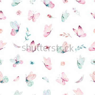 Adesivo Padrão sem emenda de unicórnio aquarela bonito com flores. Padrões de unicórnio mágico de berçário. Textura de arco-íris de princesa. Cavalo cor-de-rosa na moda do pônei dos desenhos animados.