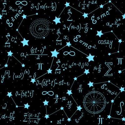 Adesivo Padrão sem emenda de vetor astrofísico matemático com fórmulas, figuras e cálculos manuscritos no fundo das estrelas. Espaço científico, textura infinita