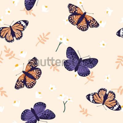 Adesivo Padrão sem emenda de vetor com borboletas brilhantes. Mão desenhada design de textura
