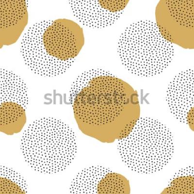 Adesivo Padrão sem emenda de vetor com elementos pontilhados redondos e círculos dourados. Fundo de memphis na moda.