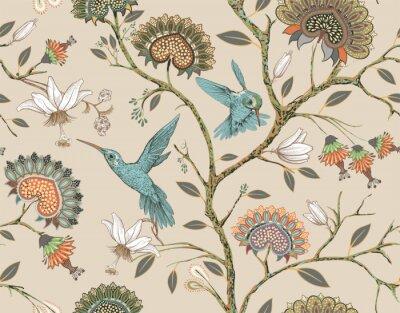 Adesivo Padrão sem emenda de vetor com flores estilizadas e pássaros. Jardim de flores com beija-flores e plantas. Papel de parede floral claro. Design para tecido, têxtil, papel de parede, capa, papel de emb
