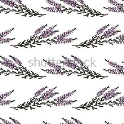 Adesivo Padrão sem emenda de vetor com mão desenhada ramos de urze. Elementos de design floral lindo, perfeitos para impressões e padrão.