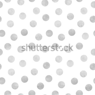Adesivo Padrão sem emenda de vetor de círculos em aquarela cinza sobre fundo branco