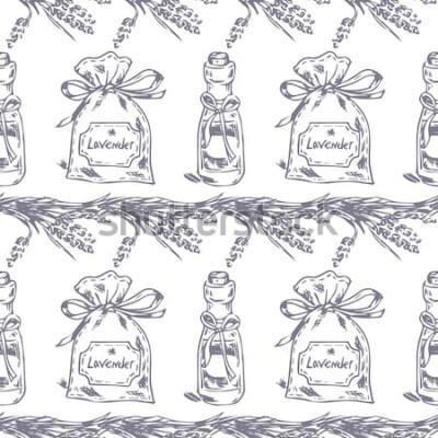 Adesivo Padrão sem emenda de vetor. Tema de lavanda da Provença. Padrão com sachê de lavanda gráfico e óleo. Ilustração tirada digital na cor lilás. Vintage padrão de elementos de lavanda isolado no branco.