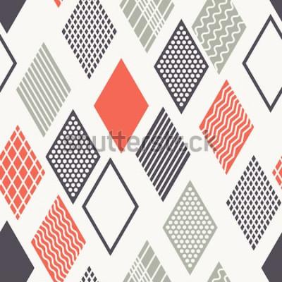 Adesivo Padrão sem emenda de vetor. Textura elegante moderna. Ornamento geométrico com losangos coloridos