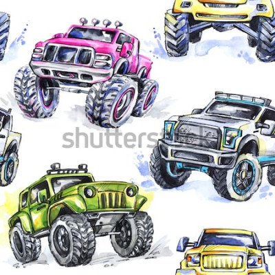 Adesivo Padrão sem emenda em aquarela Cartoon Monster Trucks. Fundo colorido de esportes radicais. 4x4. Veículo SUV Off Road. Estilo de vida. Passatempo do homem.