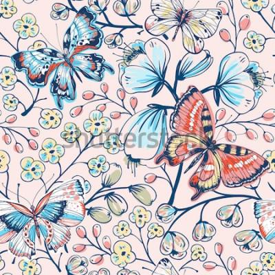 Adesivo padrão sem emenda floral de vetor com borboletas vintage e flores