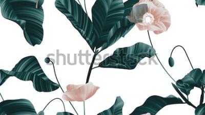 Adesivo Padrão sem emenda, flores de papoula marrons com folhas verdes sobre fundo branco