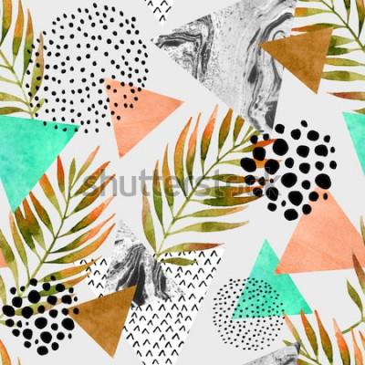 Adesivo Padrão sem emenda geométrico de verão abstrata. Triângulos com texturas grunge em folha de palmeira e mármore. Fundo geométrico abstrato no pop art retro do vintage 80s 90s. Mão desenhada ilustração n