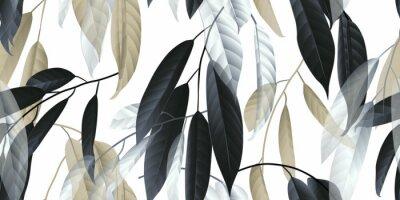 Adesivo Padrão sem emenda, preto, dourado e branco longas folhas sobre fundo cinzento claro