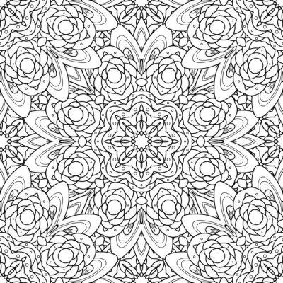 Adesivo Padrão sem emenda preto e branco decorativo decorativo da mandala do vetor.