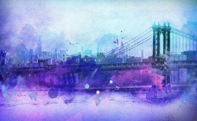Adesivo Painterly, vista, NYC, Manhattan, ponte, Rio
