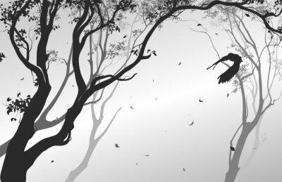 Adesivo Paisagem com uma coruja do vôo