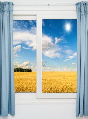 Adesivo paisagem com vista através de uma janela com cortinas