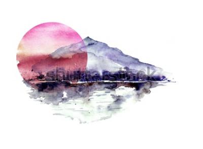 Adesivo Paisagem da montanha da aquarela, montanhas azuis, roxas, pico, silhueta da floresta, reflexão no rio, sol vermelho do por do sol. No fundo isolado branco. No fundo isolado branco.