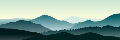 Adesivo Paisagem da montanha da manhã do verão. Ilustração vetorial horizontal.