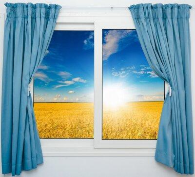 Adesivo Paisagem da natureza com uma vista através de uma janela com cortinas