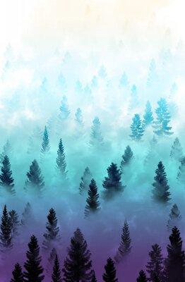 Adesivo Paisagem de floresta enevoada