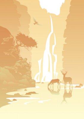 Adesivo paisagem de montanha com uma cachoeira