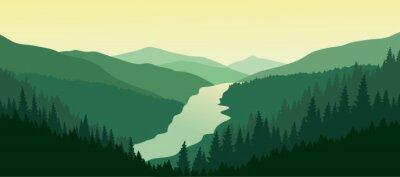 Adesivo Paisagem de montanha verde com o rio no vale.
