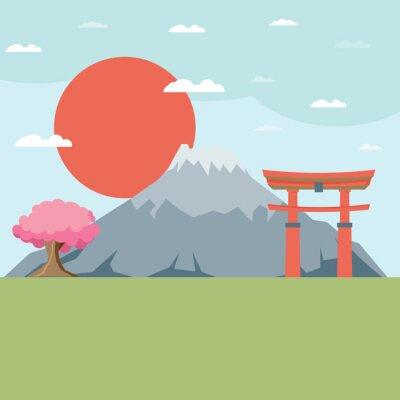 Adesivo Paisagem design plano do Japão ilustração vetorial