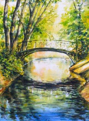 Adesivo Paisagem do verão com a ponte sobre o rio no parque. Retrato criado com aguarelas.