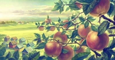 Adesivo Paisagem do verão com ramos de maçã. Tinta digital.