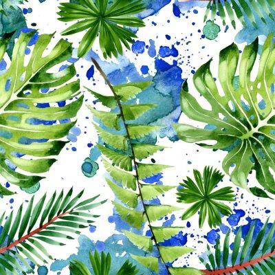 Adesivo Palm beach tree leaves jungle botanical. Watercolor background illustration set. Seamless background pattern.