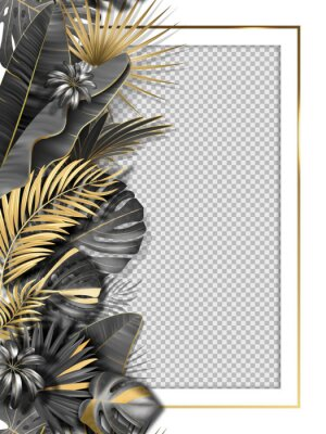 Adesivo Palm leaves and luxurious frame in black gold color. Tropical leaf illustration on transparent background. Vector illustration for cover, photo frame, invitation, souvenir design.