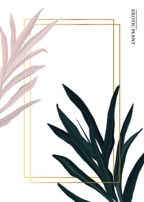 Adesivo Palm pink and green in pastel colors, soft foliage leaves hand drawn doodle graphics background, nature wedding botanical decoration. Tender 3d realistic design with gold luxury elemets