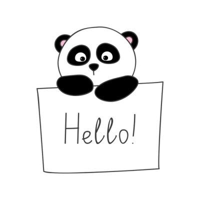 Adesivo Panda bonito dos desenhos animados isolado no branco