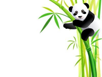 Adesivo panda em bambu