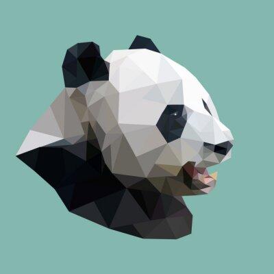 Adesivo panda poligonal, polígono animais geométrico abstrato, illus