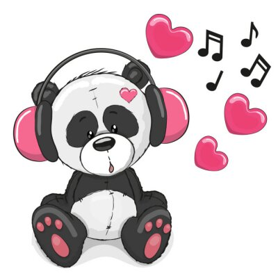 Adesivo Panda with headphones