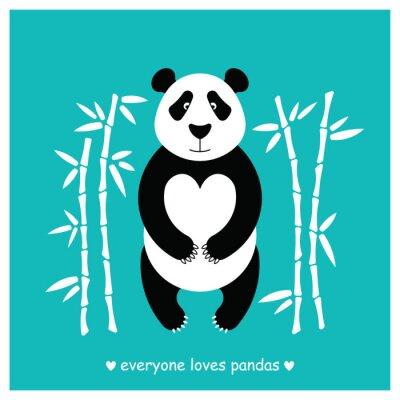 Adesivo Pandas de urso plano. Animal da panda isolado.