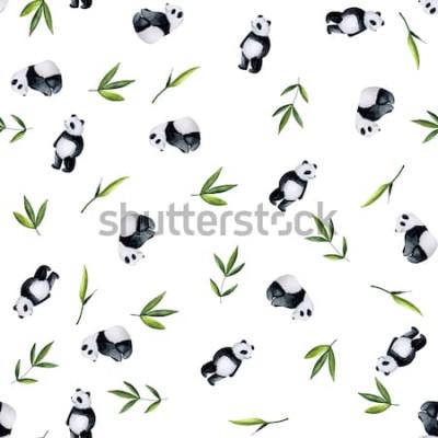 Adesivo Pandas e teste padrão de bambu no fundo branco. Aguarela pintada à mão
