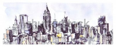 Adesivo Panorama da cidade de Nova York. Aquarela, gráfico de tinta. Arquitetura