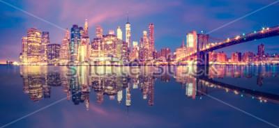 Adesivo Panorama, de, midtown manhattan, em, anoitecer, com, arranha-céus, cidade nova iorque