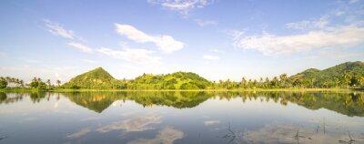 Adesivo Panorama, montanha, colina, céus, Reflexão