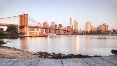 Adesivo Panorâmico, pôr do sol, new, york, cidade, riverbank