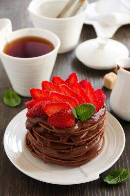 Adesivo Panquecas de chocolate com creme de chocolate e morangos.