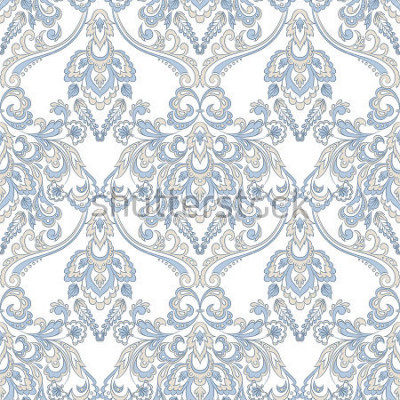 Adesivo Papel de parede floral vetor. Ornamento floral barroco clássico. Sem costura vintage padrão
