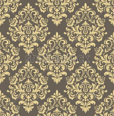 Adesivo Papel de parede no estilo barroco. Plano de fundo sem emenda Ornamento floral ouro e cinzento. Padrão gráfico para tecido, papel de parede, embalagem. Enfeite de flores de Damasco ornamentado