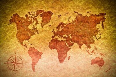Adesivo papel do vintage com mapa de mundo
