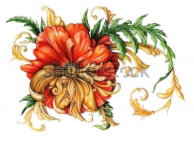 Adesivo Papoila laranja com rolos de ouro 1